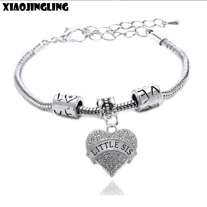 XIAOJINGLING Adjustable Bracelet Crystal Heart Pendant Little Sis Fashion Bangles Jewelry Birthday Gift For Best Friends Sister