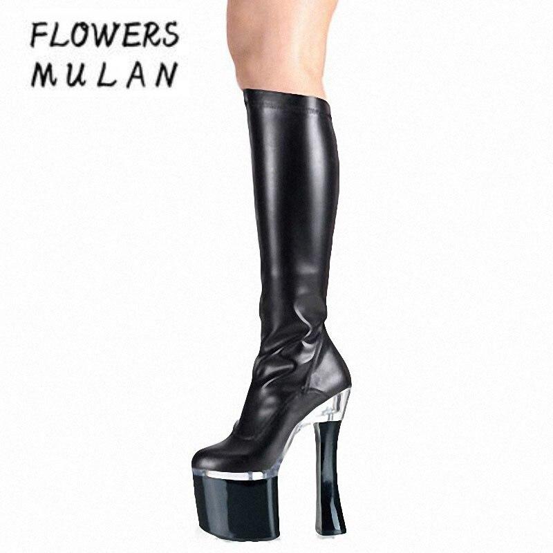 18 см толстый каблук ботфорты из лакированной кожи Для женщин платформа тонкий ногу на необычном каблуке Botas сексуальная модель туфли для та