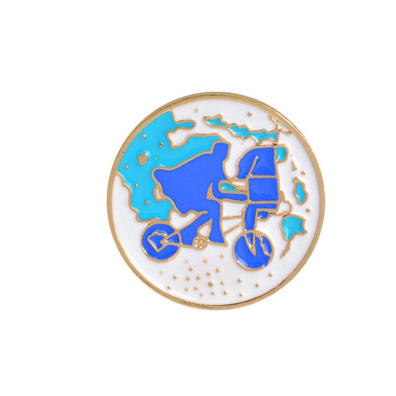 SMJEL New Sports Bike Wishing Drift Bottle Riding Girl Shoes Enamel Brooches Accessories Origami Game Brooch Pins for Women