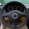 Black Leather Hand -stitched Car Steering Wheel Cover for Volkswagen VW Golf 4 Mk4 Old VW Passat B5 Seat Leon 1999-2004