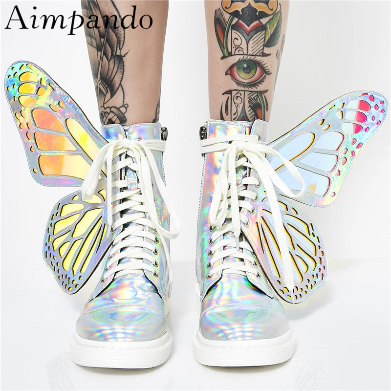 Individual Colorful Wing Stage Shoes Woman Round Toe Cross tied Ankle Boots Side Zip Butterfly wing