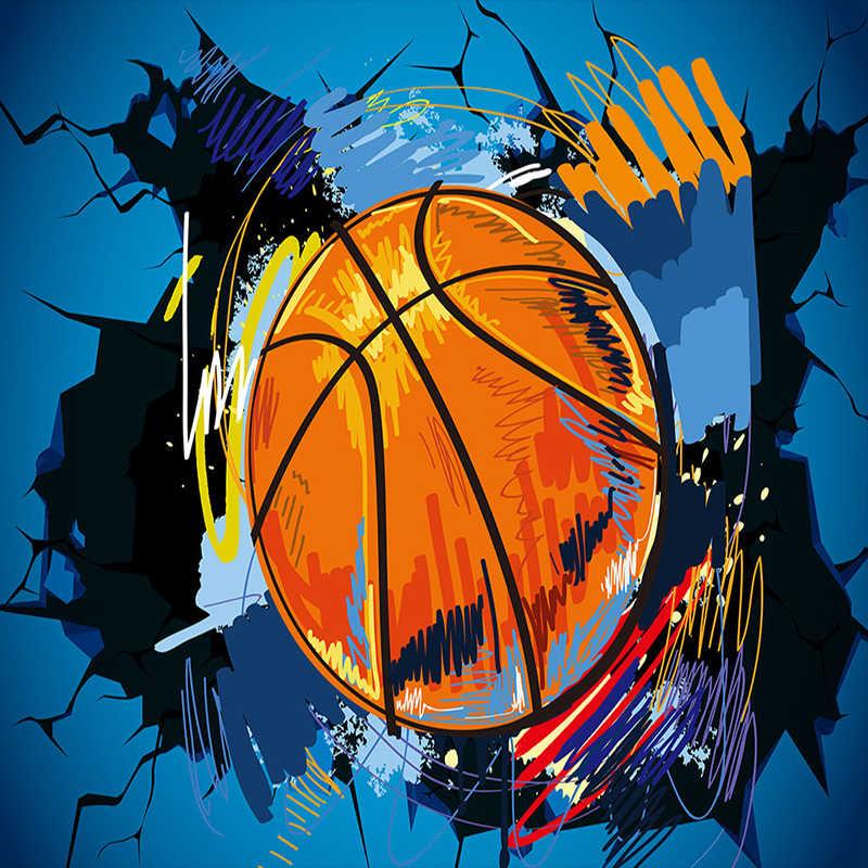 Пользовательские 3D фото обои современный простой Баскетбол сломанная стена плакат граффити Искусство Настенная живопись нетканый рулон обоев