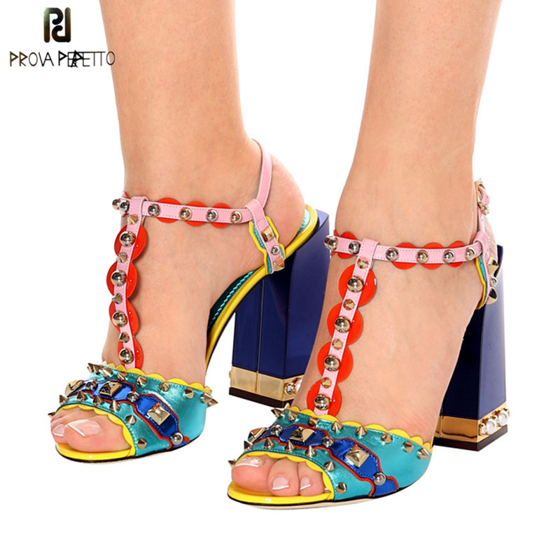 Prova Perfetto 2019 Spiked Rivets Pearled High Heels Sandalias Summer Shoes Woman Gladiator Sandals Women Pumps