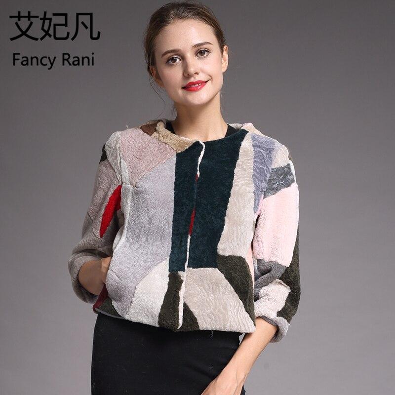 Genuine Sheepskin Coat for Women Winter Fashion Fur Wool Coat Female Short Style Outwear Warm Patchwork Sheep Shearing Jacket