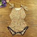 Free shipping Ruffled baby girls Cotton Sunsuit leopard Rompers child bubble playsuit print Jumpsuit Cotton Romper with balls