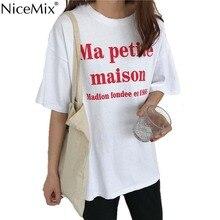 NiceMix Brand New 2019 Summer Women T-shirt Print Letter T Shirt White Cotton maison Tops Tee Harajuku Tshirt