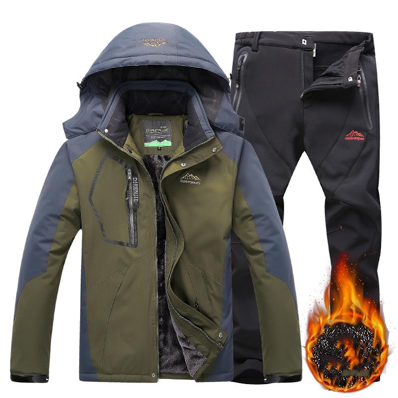 Men Winter Jacket+Pants Heated Set Outdoor Hiking Abrigo Mujer Male Waterproof Windbreaker Camping Skiing Softshell Sport Jacket