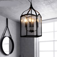 Industrial wind loft lamp iron glass box candle box Pendant Lights American rustic living room bedroom lamp restaurant lights CL