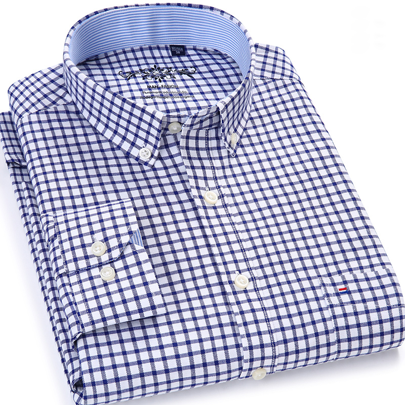 Dress Shirts Chest-Pocket Long-Sleeve Plaid Classic Contrast Oxford Smart Button-Down