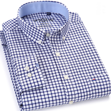 Mens Plaid Checked Oxford Button-down Shirt Single Patch Pocket Casual