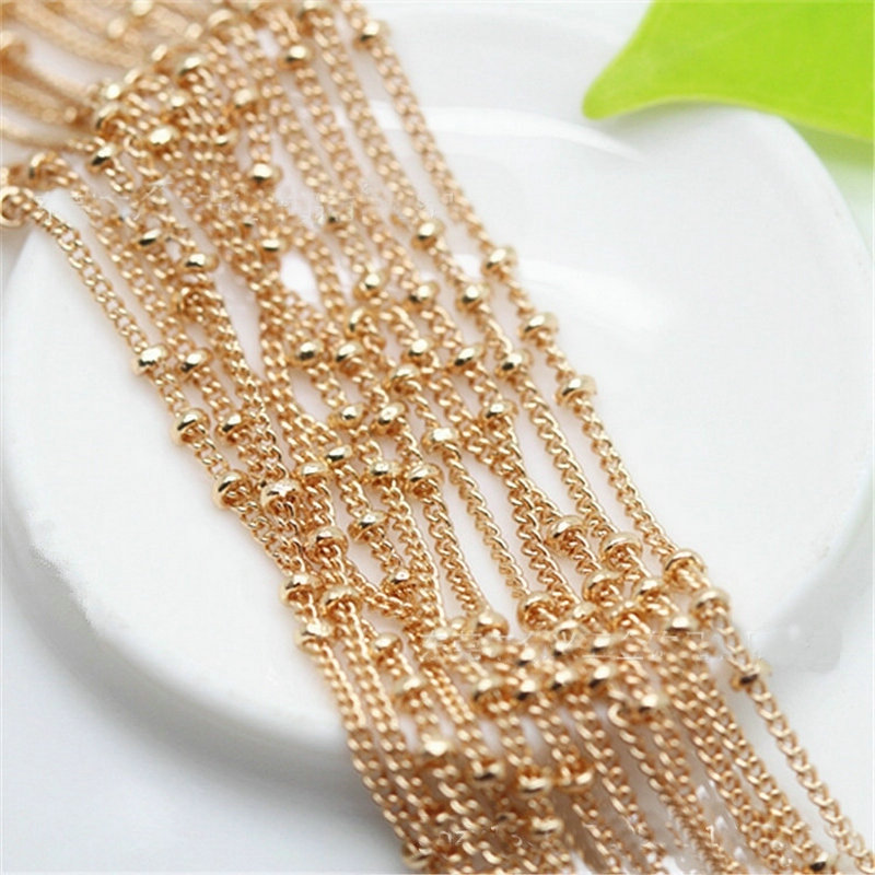 """DIY Encryption """"O""""shape copper bead chain apply to necklace/earring/bracelet/anklet/ pocket watch chain gold/silver color women"""