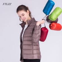Ftlzz, новинка, Осень-зима, женский ультра-светильник, белый утиный пух, куртки, карамельный цвет, тонкий, короткий, дизайнерский, теплый пуховик