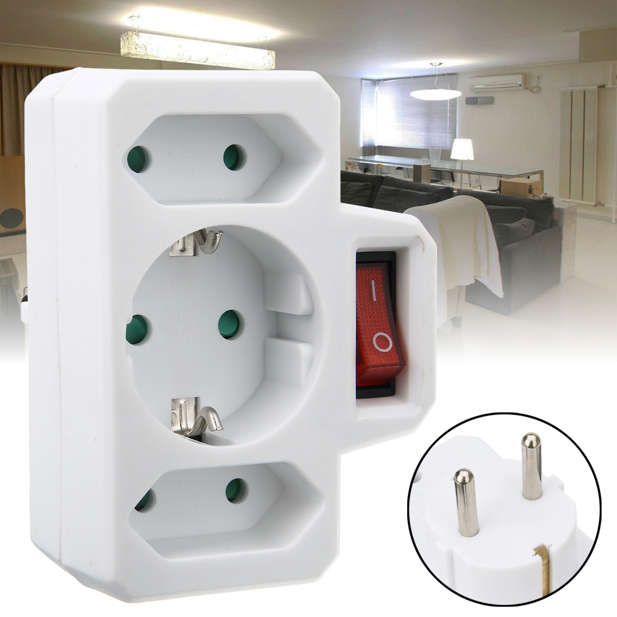 1pc 250V 16A/2.5A EU Plug Multiple Outlet Extension Socket Home Electronics Charging Electric Adapter With Switch