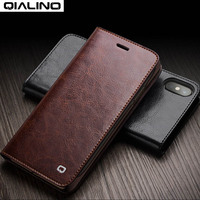 QIALINO Bussiness For IPhone X Handmade Genuine Leather Wallet Card Slot Ultra Slim Flip Cover