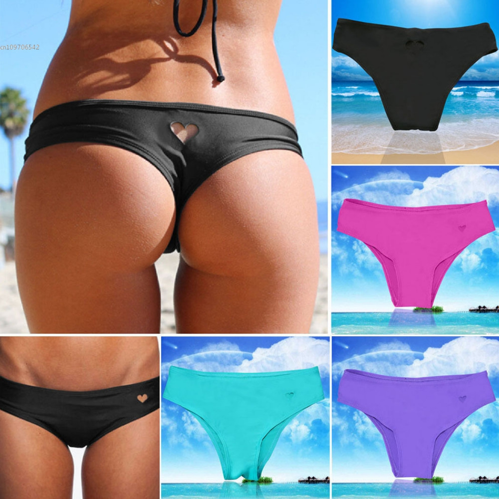 Sexy Lady Bikini Underwear Women T-Back Heart Shape Panties Cut Out Thong Briefs Solid Color G-string Adorable Swimwear Bottoms