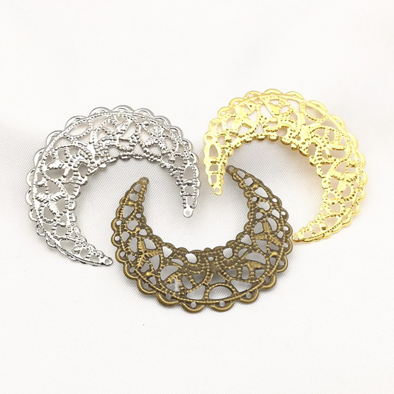 20 Pcs/lot Gold Color/White K/Antique Bronze Metal Filigree Flowers Slice Moon Charms Setting Jewelry DIY Components B100775