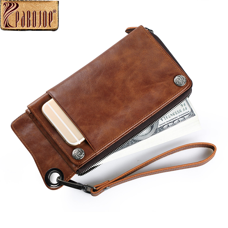 Pabojoe Vintage Luxury Men Wallets Long Genuine Leather Clutch Wallet Designer Brand Purse стоимость