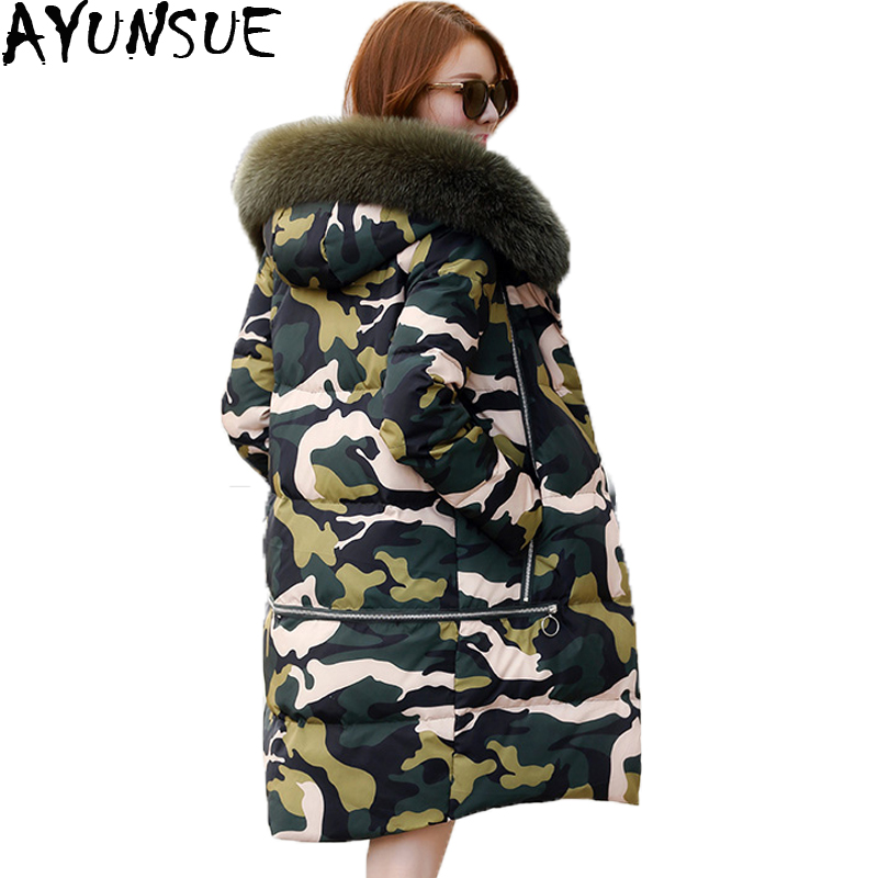 Manteau Parka Épais Mode Vers D'hiver 2018 Imprimer St583 Femmes Veste Ayunsue Long Bas Des Camouflage Le Vestes Chaud Femelle ZwSqT0ff