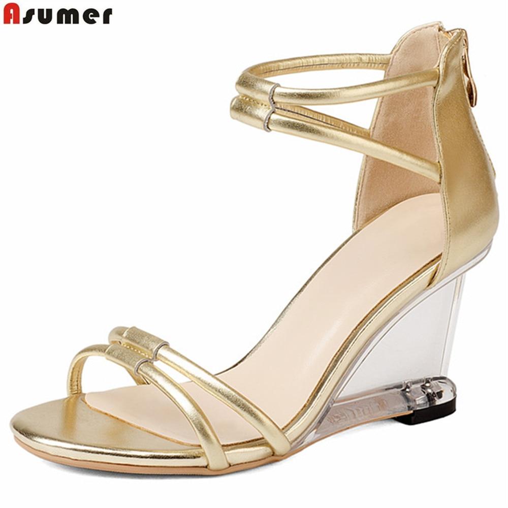 где купить ASUMER gold silvery fashion summer ladies shoes zip elegant wedges wedding shoes women genuine leather high heels sandals по лучшей цене