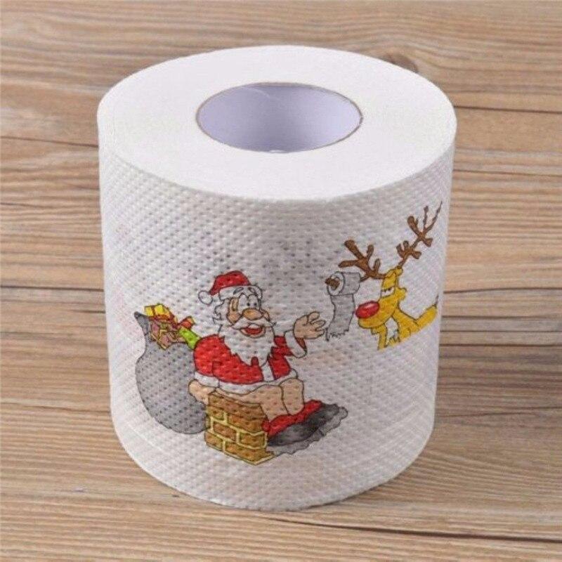 1 Roll Kerstman Herten Patroon Kerst Toiletpapier Tissue Tafel Room Decor Vrolijk Kerstfeest Ornament Diy Craft Papier Het Voeden Van Bloed En Het Aanpassen Van De Geest
