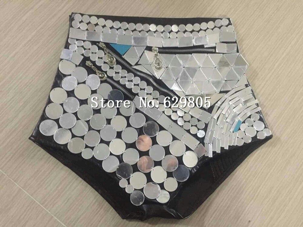 Luxury Mirror Costume For Female Singer Costume Racer back Bodysuit Clothing Sets Reflective Halter Leotard Bra High Waist Short