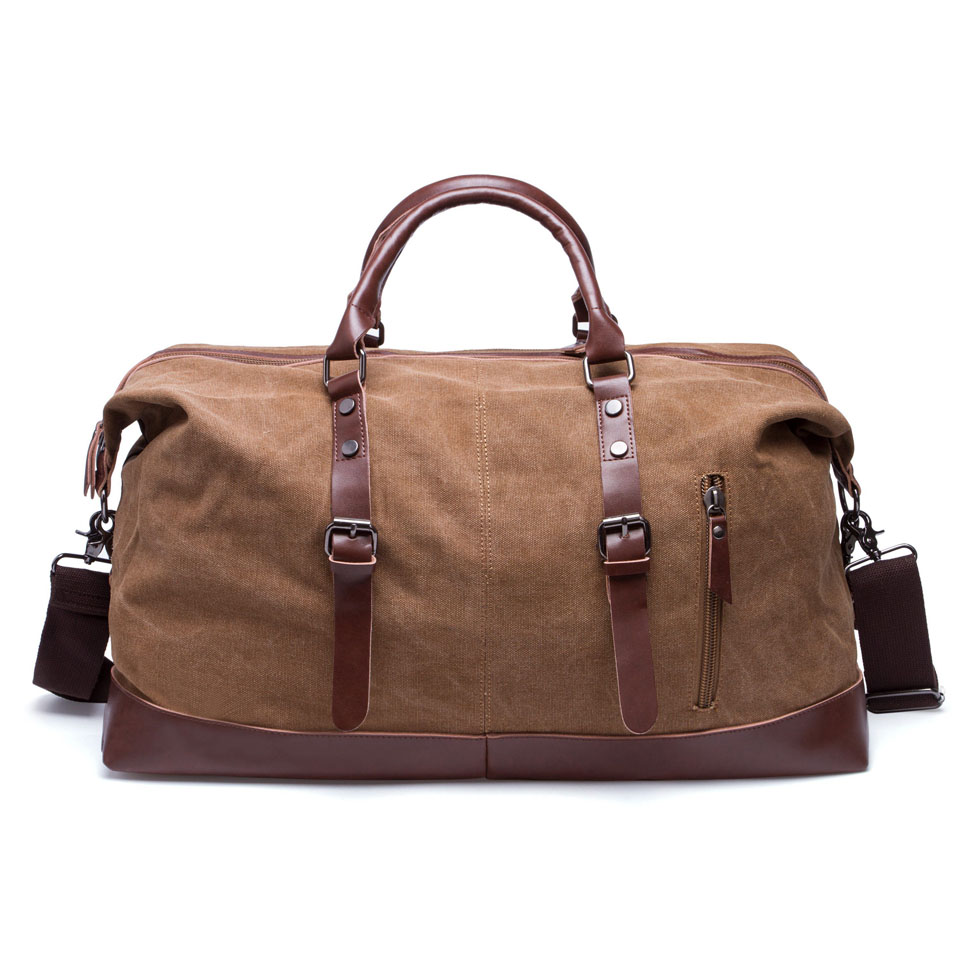 8002a03d4f52 BAIGIO Canvas Leather Men Travel Bags Carry On Luggage Bags Men ...
