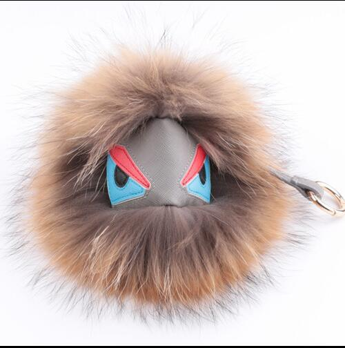 Trendy Little Monster Bag bugs Charm Fur Pom Poms Keychains Luxury Car keychains Pendant of Fox fur Bird monster Free Shipping