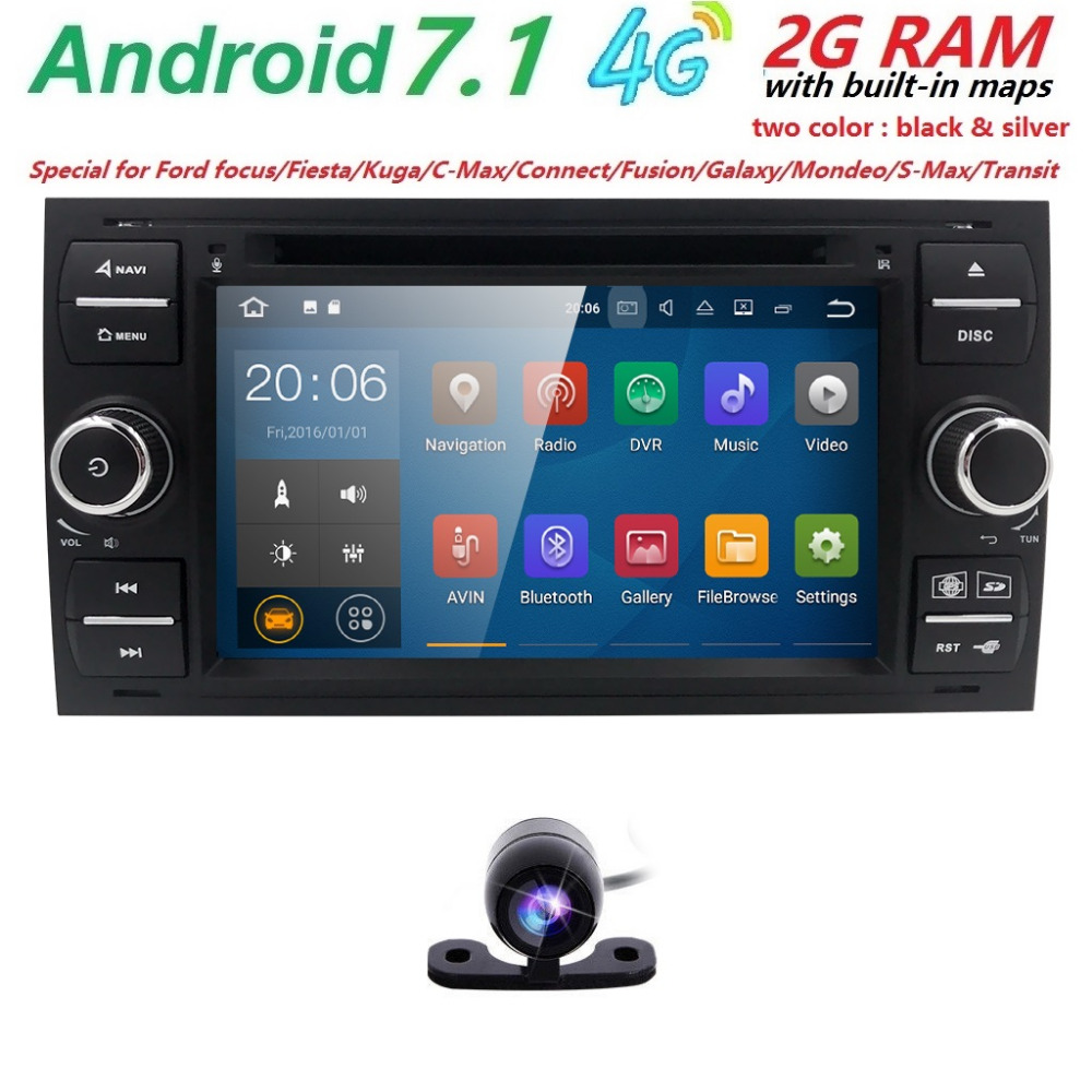 2 din Android 7.1 Gps Car Radio Car DVD Player Car Multimedia For Ford Focus 2 3 Mondeo S C Max Fiesta Galaxy Car Audio Wifi 4G