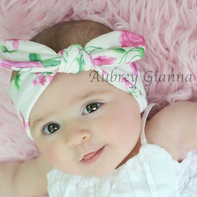 Children Bow Knot Hair Band Floral Headband Baby Turban Rabbit Ears Headwrap