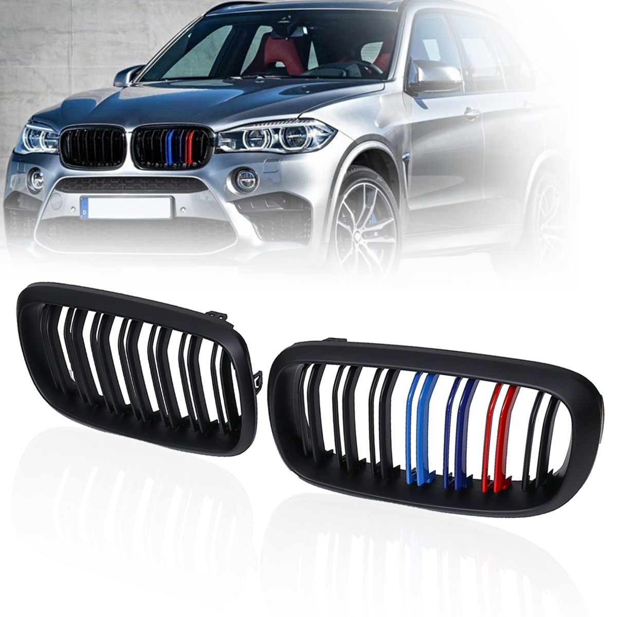 #28-F15MFG3B Pair Matte Gloss Black M Color Front Double Slat Kidney Grille For BMW F86 F15 F16 X5 X6 X5M F85 X6M F86 2016 2017 pair gloss matt black m color front kidney racing bumper grille grill for bmw x5 f15 x6 f16 x5m f85 x6m f86 2014 2015 2016 2017