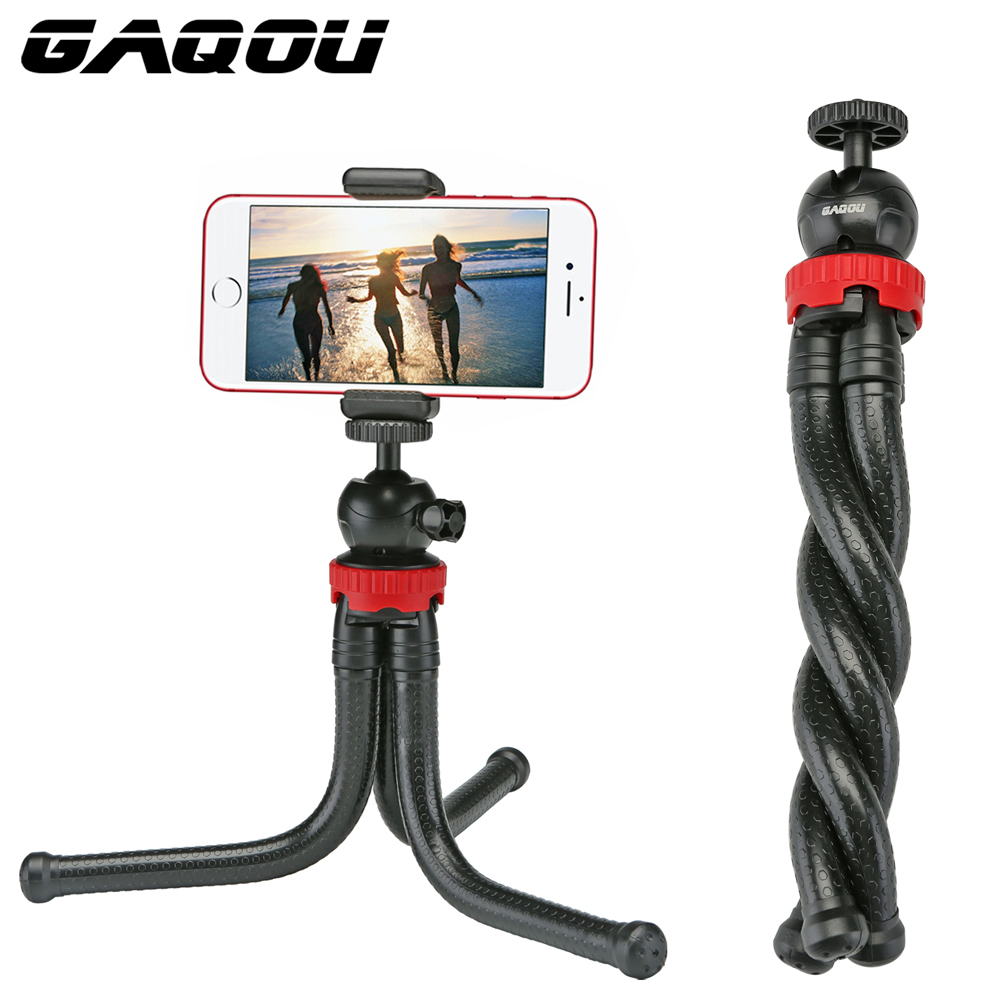 GAQOU portátil trípode de pulpo Flexible de viaje Mini teléfono móvil soporte de trípode Monopod palo de Selfie para iPhone DSLR cámara Gopro