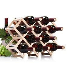 Vida sencilla de Alta calidad sostenedor del vino del estante del vino de madera plegable 3/6/10 sostenedor de botella cocina bar whisky estante