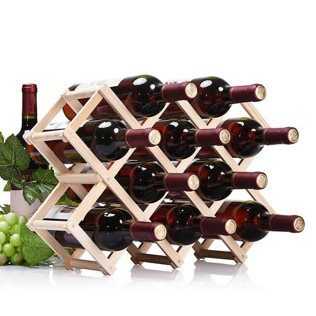 Simple Life High Quality Wooden Wine Rack Folding Wine Holder 3610