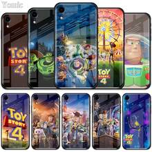 Cute Cartoon Toy Story 4 Buzz Lightyear Tempered Glass Case for Apple iPhone XR 7 8 6 6S Plus X XS MAX Cell Phone Cover