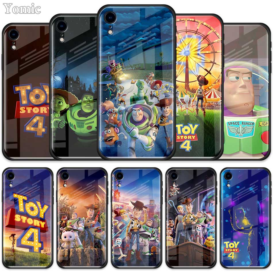 Cute Cartoon <font><b>Toy</b></font> <font><b>Story</b></font> 4 Buzz Lightyear Tempered Glass Case for Apple <font><b>iPhone</b></font> <font><b>XR</b></font> 7 8 6 6S Plus 11 Pro X XS MAX Cell Phone Cover image