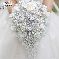 Белый гортензия падения брошь букет Серебряный Свадебные букеты Хрустальные Слезинки стиль букет невесты жемчужные кисти Декор