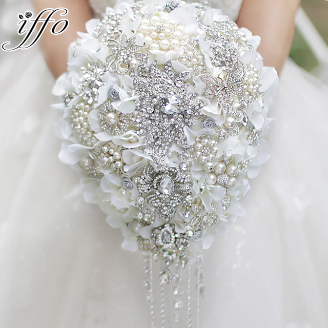 White Hydrangea Drop Brooch Bouquet Silver Wedding Bridal Bouquets Crystal Teardrop Style Bride S