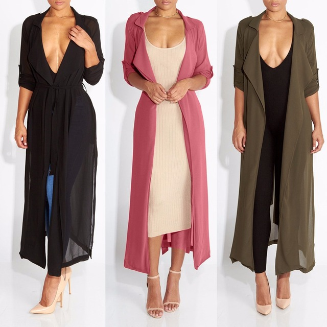 2017 Spring New Fashion/Casual Women's Trench Coat Chiffon Long Outerwear Summer Wrap Loose Clothes For Lady Good Quality