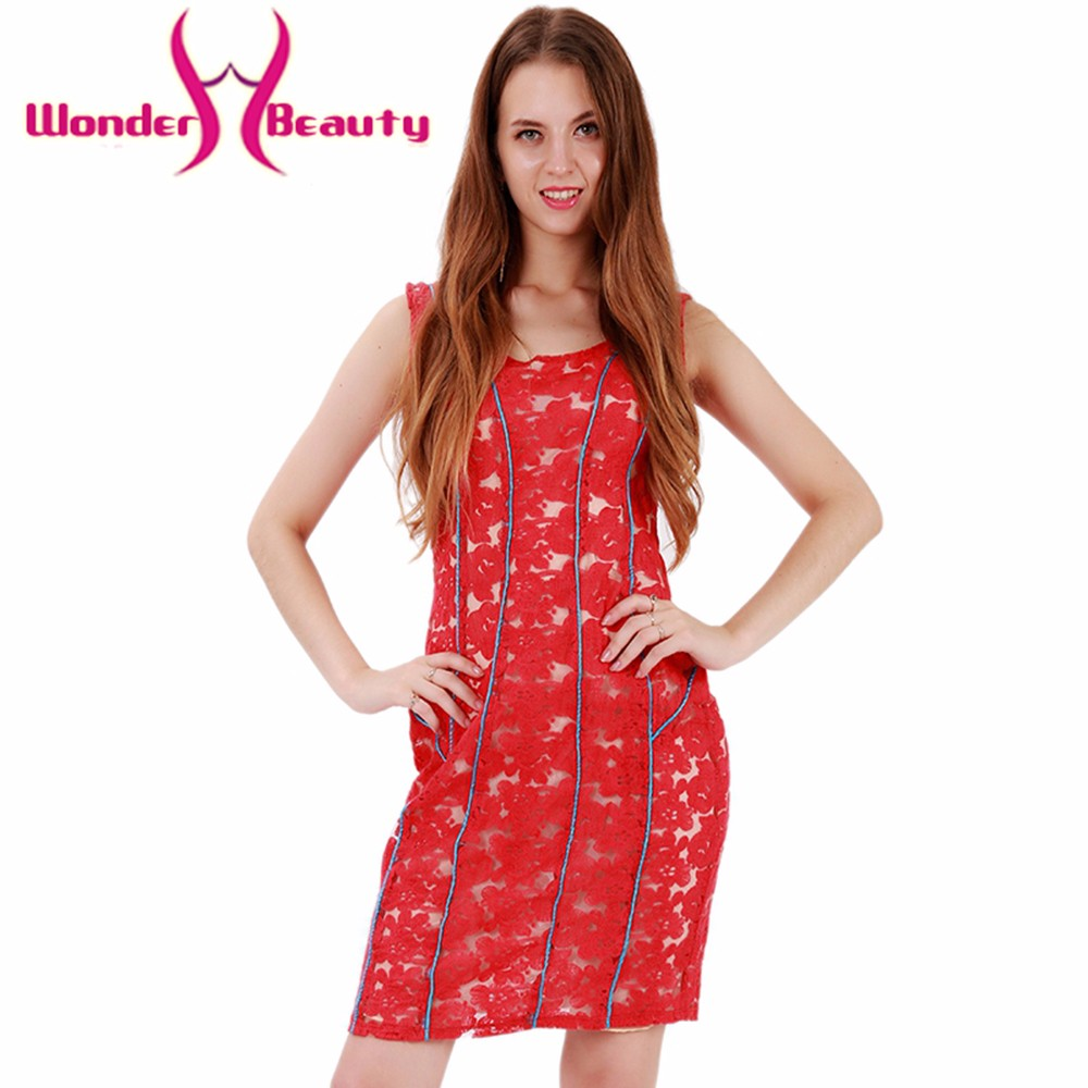 Wonder beauty red sexy casual work dress Vintage lace stripe Women Summer elegant beach Dress Sleeve Sheath Bodycon Mini Dress