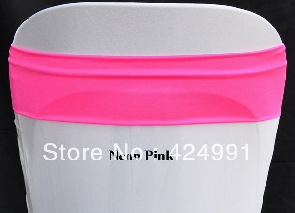 High Quality High Quality Neon Pink Shiny Lycra Chair Bands 12cm X33cm Double Layer