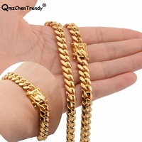 Hip hop Mens Chain Miami Curb Cuban Necklace Bracelets 316L Stainless Steel Hip Hop Golden Curb Men Boy 8mm Jewelry sets