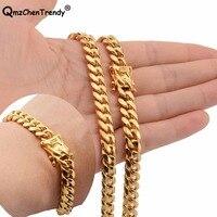 Hip hop Mens Chain Miami Curb Cuban Necklace Bracelets 316L Stainless Steel Hip Hop Golden Curb Men Boy 8mm Jewelry sets