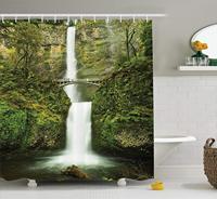 Hobbits Shower Curtain Set, Falls of Rivendell Multnomah Waterfall Oregon with Hobbit Elf Path Bridge Scene Image