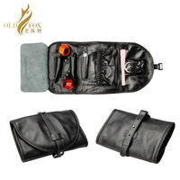 OLDFOX Kraft first layer Leather Smoking Tobacco Pipe Pouch Bag Organize Case Pipe Tool lighter Holder Pocket for 2 pipe fc0002