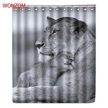 WONZOM Female Lion And Her Cub Curtain with 12 Hooks For Mildewproof Bathroom Decor Modern Animal Bath Waterproof Curtain