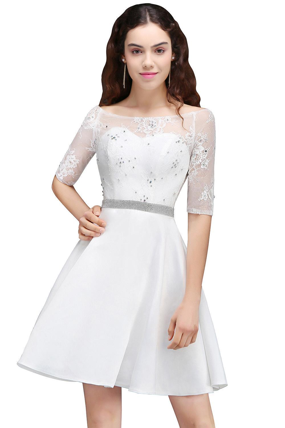 10e766e4349 Short Sleeveless Ivory Lace Prom Dress - Gomes Weine AG