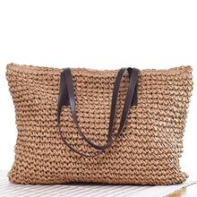 Hot Straw Bag Women Handbag Bohemia Beach Bags Handmade Wicker Summer Tote Bags Rattan Shoulder Bags(Brown)