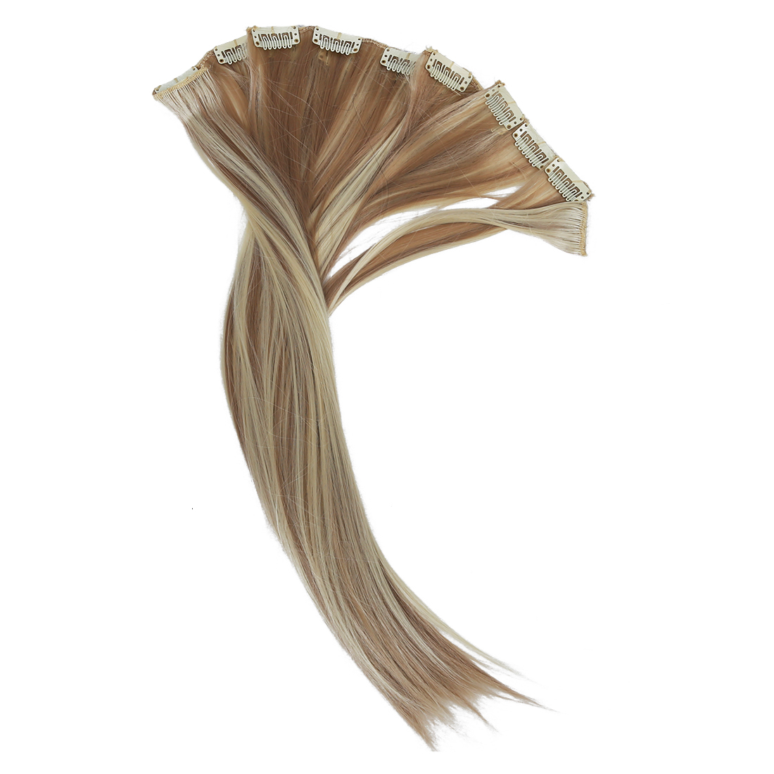 8x 18 #18/613 Blonde Highlights Straight Full Head Synthetic Hair Extensions