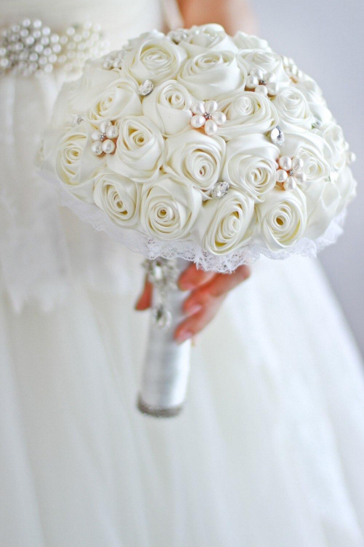 Free Shipping Ivory Rose Flower Bridal Brooch Bouquet Wedding Bride