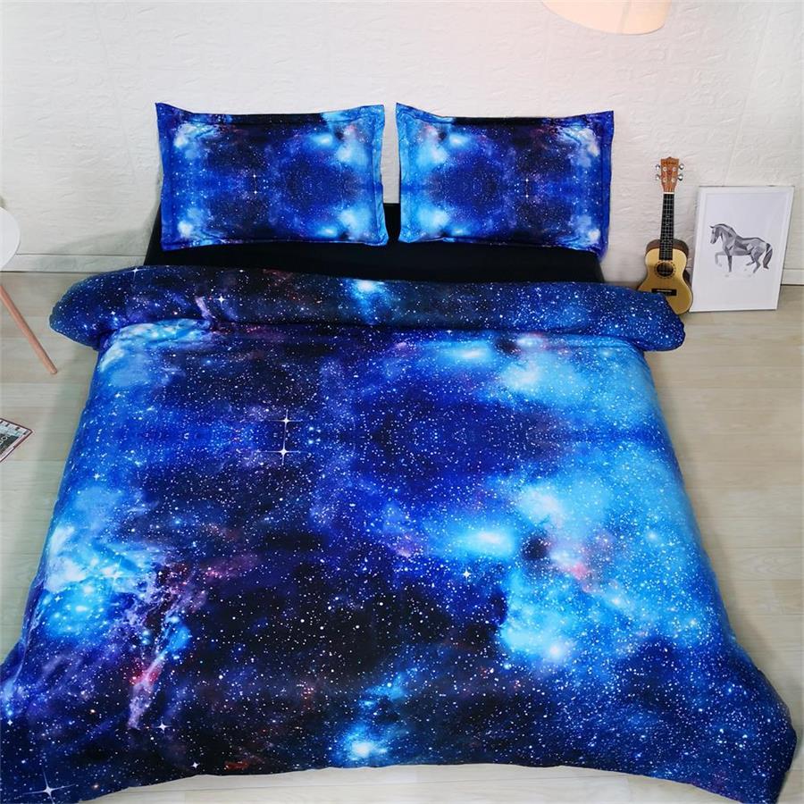 3d galaxy ensembles de literie king size adulte housse de couette bleu haute qualité étoiles linge de lit luxe espace maison textile enfants 3 pièces